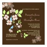 """Love Birds Wedding Invitations 5.25"""" Square Invitation Card"""