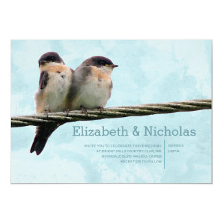 "Love Birds Wedding Invitations 5"" X 7"" Invitation Card"