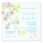 "Love Birds Wedding Invitations/diy background 5.25"" Square Invitation Card"