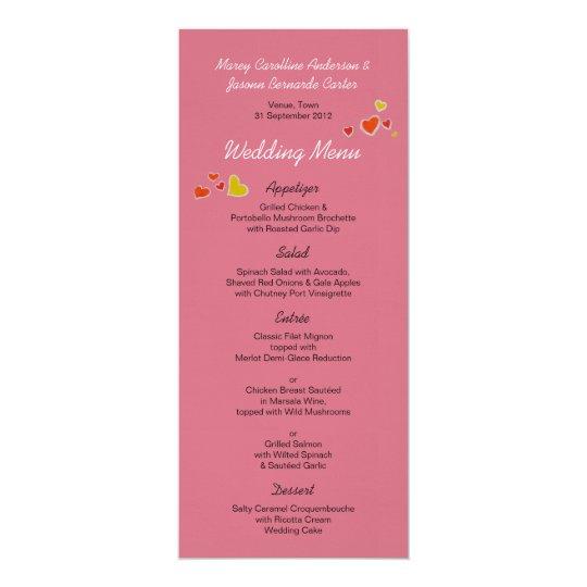 Love Birds Wedding Menu Card