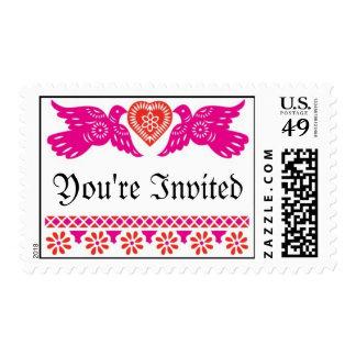Love Birds Wedding Postage - Red/Pink