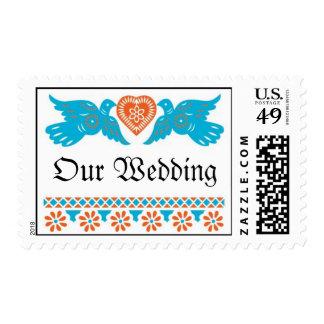 Love Birds Wedding Postage - Red/Turquoise
