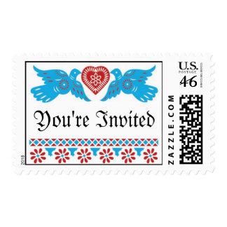 Love Birds Wedding Postage - Red Turquoise