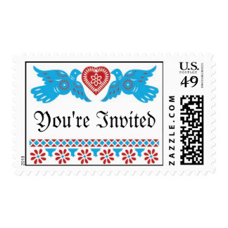 Love Birds Wedding Postage - Red/Turquoise