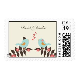 Love Birds Wedding Postage Stamp