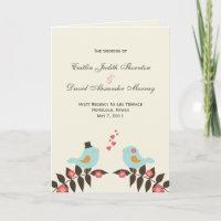 Love Birds Wedding Program Cards