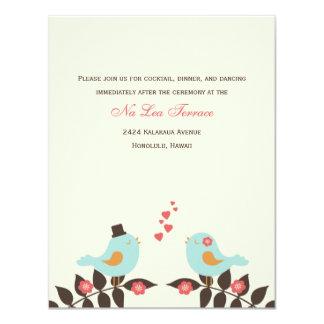 Love Birds Wedding Reception Cards