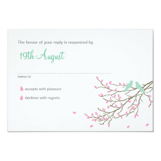 Love Birds Wedding RSVP (SMALL) in Pink and Blue 3.5x5 Paper Invitation Card