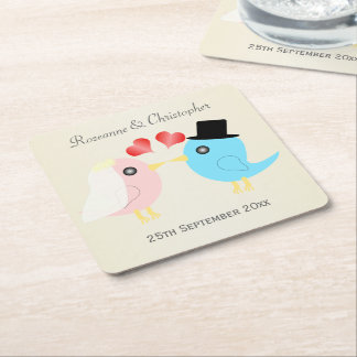 Love Birds Wedding Square Paper Coaster