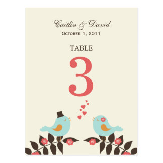 Love Birds Wedding Table Number Card