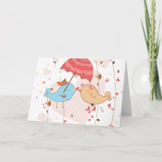 Love Birds Wedding Valentines Card
