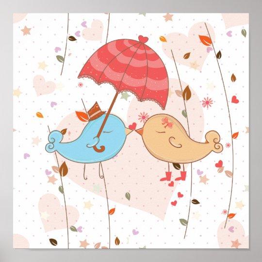 Love Birds Wedding Valentines Poster