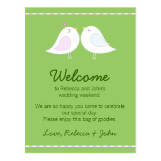Love Birds Wedding Welcome Card Post Cards