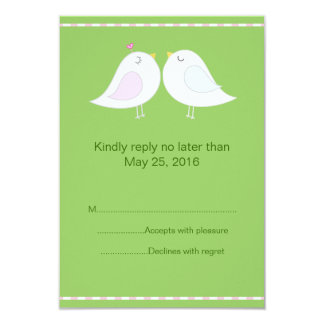 Love Birds with Green Background RSVP Card
