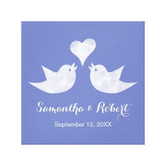 Love Birds with Heart Custom Text Canvas Print
