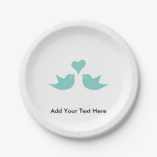 Love Birds with Heart Custom Text Paper Plate
