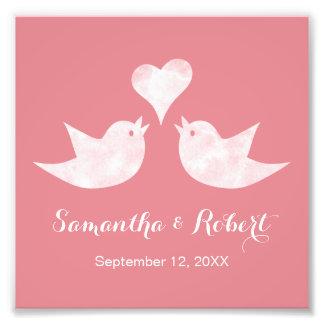 Love Birds with Heart Custom Text Photo Print