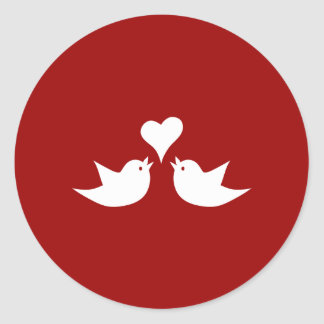 Love Birds with Heart Wedding Enagement Classic Round Sticker