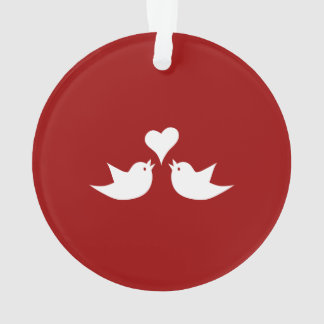 Love Birds with Heart Wedding Enagement Ornament