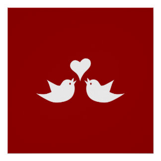 Love Birds with Heart Wedding Enagement Poster
