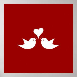 Love Birds with Heart Wedding Enagement Poster