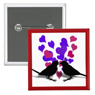 Love Birds With Purple Hearts Buttons