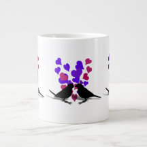 Love Birds With Purple Hearts Extra Large Mugs