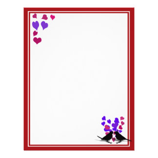 Love Birds With Purple Hearts Flyer Design