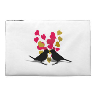 Love Birds With Red And Gold Hearts Travel Accessory Bags
