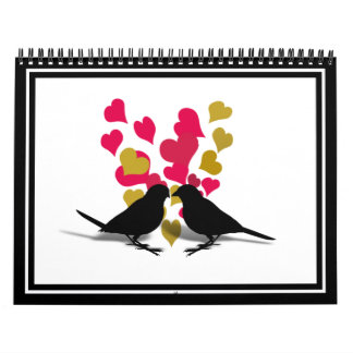Love Birds With Red & Gold Hearts Calendar