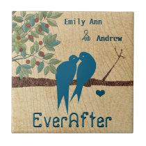 Love Birds Wood Grain Tree Ever After Anniversary Ceramic Tile