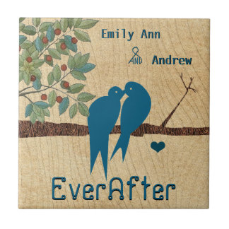 Love Birds Wood Grain Tree Ever After Anniversary Ceramic Tile