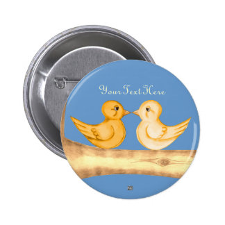 Love Birds (Yellow) Pinback Buttons