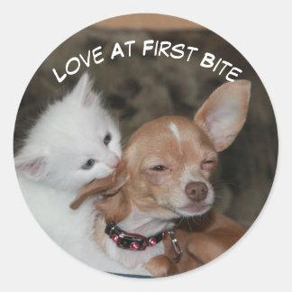 Love Bite Kitty And Puppy Sticker
