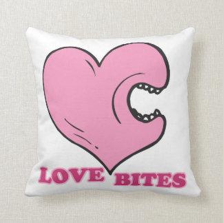 love bites biting heart pillow