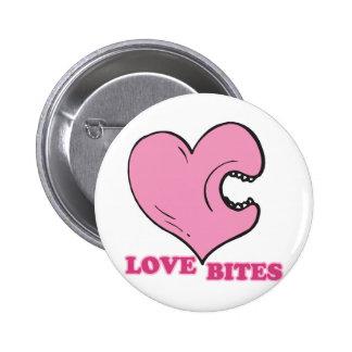 love bites biting heart pinback button