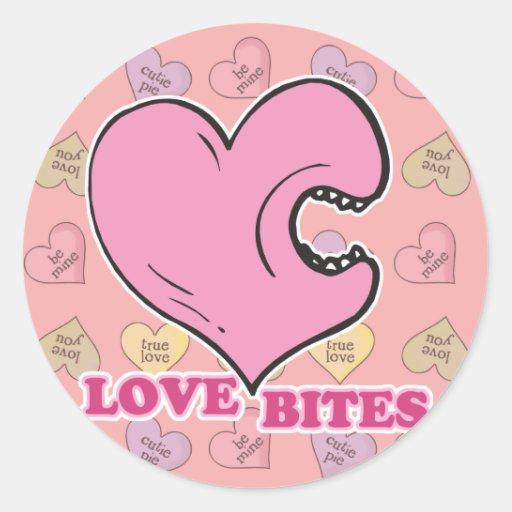 love bites biting heart round stickers