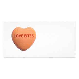 Love Bites Orange Candy Heart Photo Card