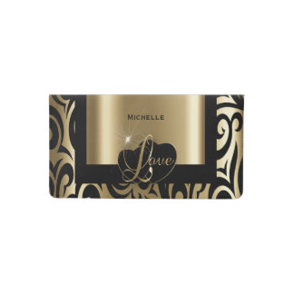 Love Black and Gold Verder Pattern Checkbook Cover