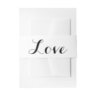 Love Black And White Wedding Invitation Belly Band
