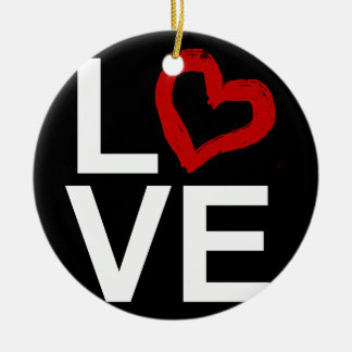 LOVE, Black and White with Red Sketched Heart Ceramic Ornament