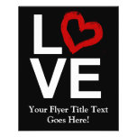 LOVE, Black and White with Red Sketched Heart Flyer Design