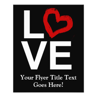 LOVE, Black and White with Red Sketched Heart Flyer