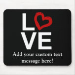 LOVE, Black and White with Red Sketched Heart Mouse Pad