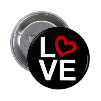 LOVE, Black and White with Red Sketched Heart Pins
