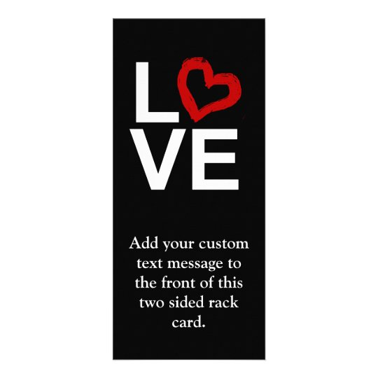 LOVE, Black and White with Red Sketched Heart Rack Card