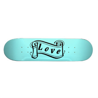 Love black blue scroll Fantasy kind - Skateboard