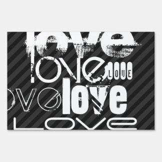 Love; Black & Dark Gray Stripes Lawn Sign