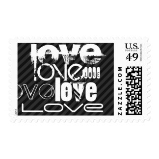 Love; Black & Dark Gray Stripes Postage