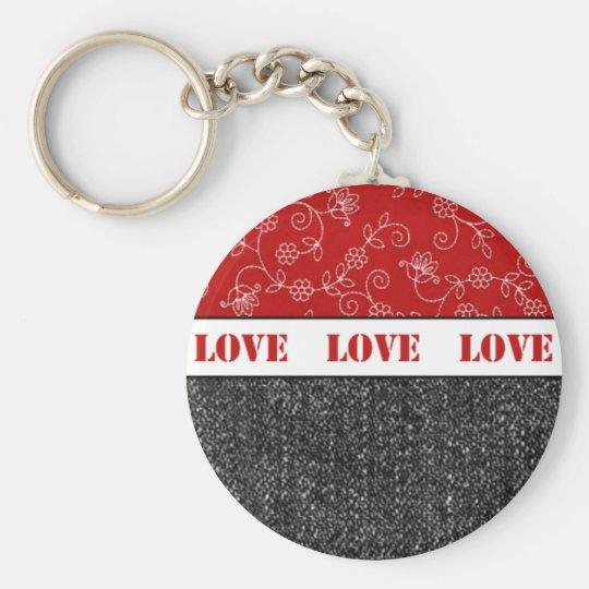 Love. Black Denim/ Red Keychain